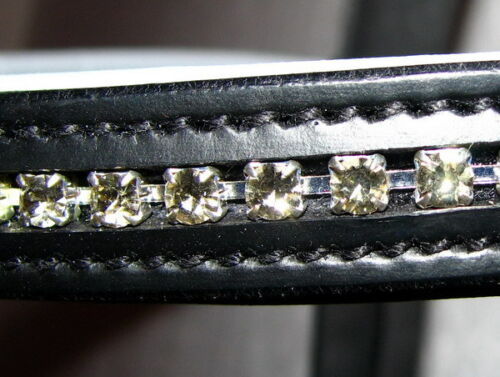 Fss crystal bling colombe gris rembourré allemand browband custom made sparkle neuf
