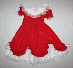 8bec0b38e3eee Vintage Lidl Dolly Girls Dress Southern Belle Red White Lace Size 8 ...