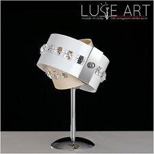 Lumetto Lampada Abatjour Moderno Laccato Cristalli Made Italy Rings 1 Luce