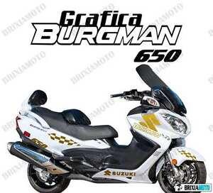ADESIVI-GRAFICA-RACING-SUZUKI-BURGMAN-650-STICKERS-CARENA-ORO-ADESIVO-2005-2014