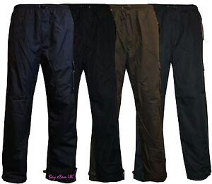 Mens-Elasticated-Fleece-Lined-Thermal-CargoCombat-Trousers-Pants-Fishing-Hunting