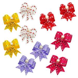 Pearl-Ribbon-Pet-Hair-Bows-W-Rubber-Bands-Dog-Cat-Grooming-Hairpin-Random-Colors