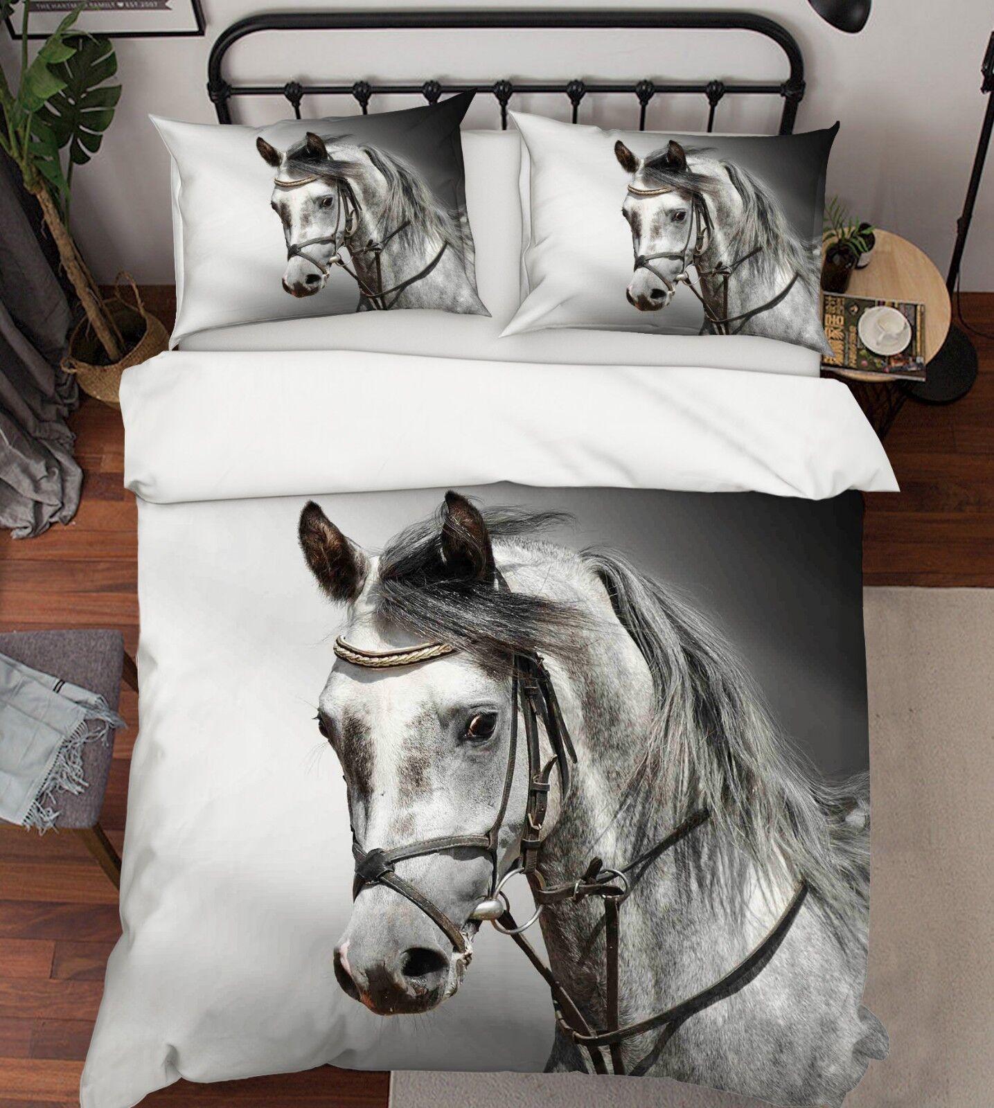 3D Hübsches Pferd 1 Bett Kissenbezüge steppen Duvet Decken Set Single Königin DE