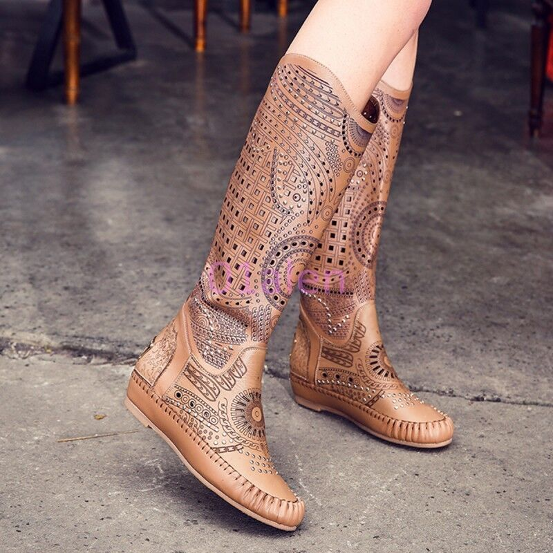 Womens Spring Hollow Out Knee High Boots Low Wedge Heel Bohemia shoes Pull on