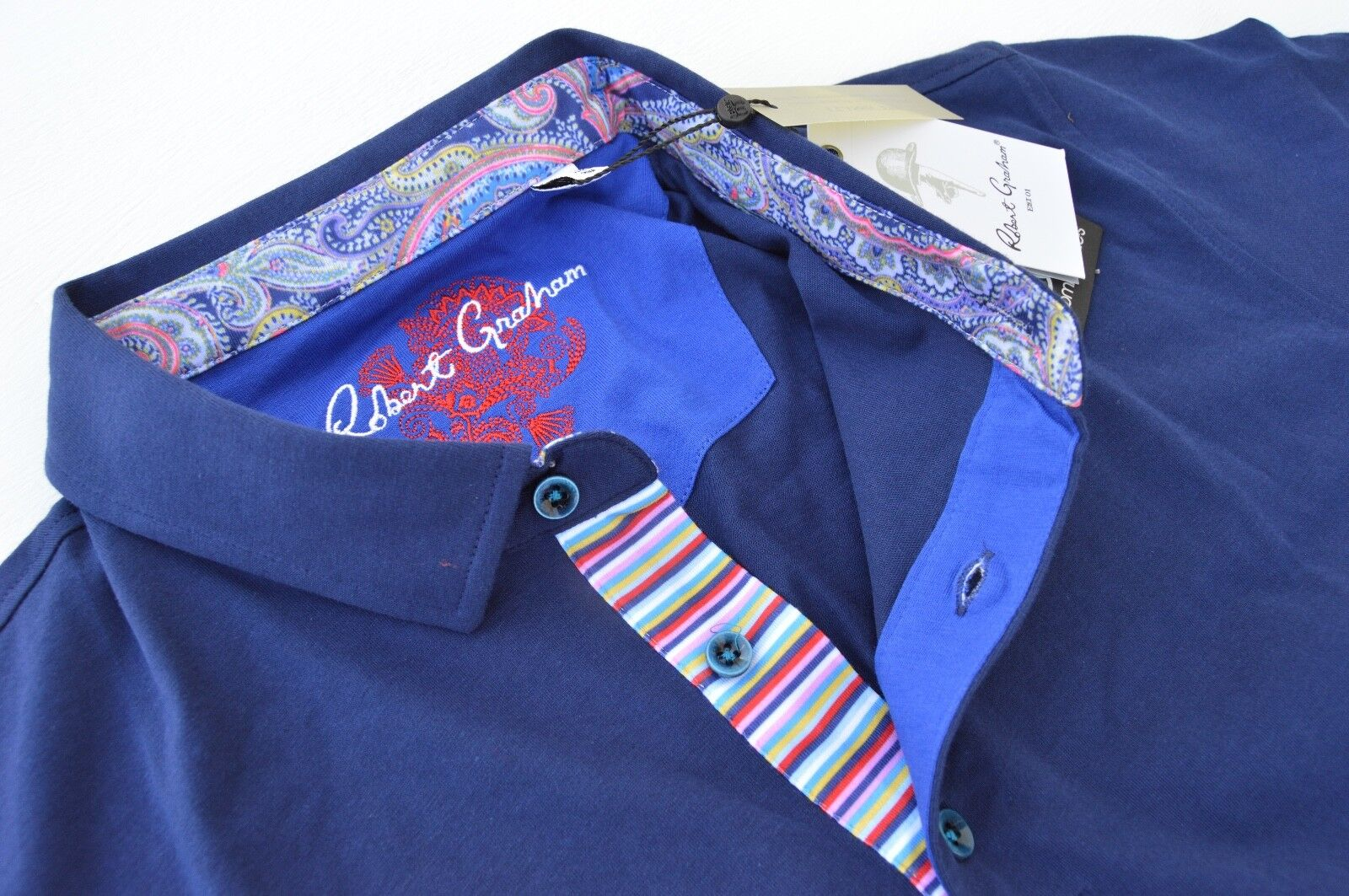 NWT  Robert Graham Mens STOKED polo shirt short sleeve size XL Casual Shirt
