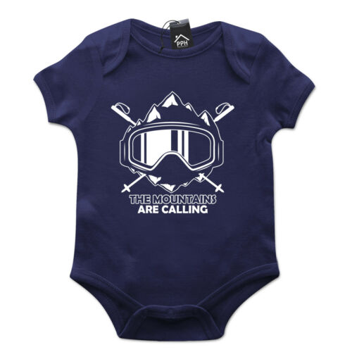 The Mountains are calling Skiing Babygrow Gift Baby Grow Newborn Snowboard 496