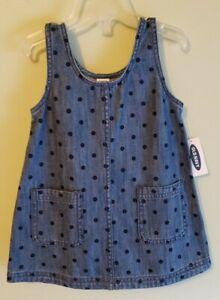 Old Navy Girls 3-6 6-12 12-18 18-24 MONTHS Denim Skirtall Dress POLKA DOT #25620