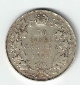 CANADA-1931-50-CENTS-HALF-DOLLAR-KING-GEORGE-V-800-SILVER-COIN