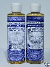 DR. BRONNER'S MAGIC PEPPERMINT PURE CASTILE ORGANIC OIL SOAP 8 OZ  *2 LOT*