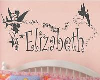 Tinkerbell Disney Princess Fairy Personalized Vinyl Wall Decal Nursery Wall Art