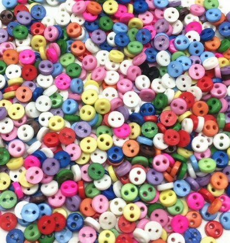 300 4 mm Rond Minuscule Petit Résine Boutons Couleurs Mélangées Craft Scrapbook Sewing