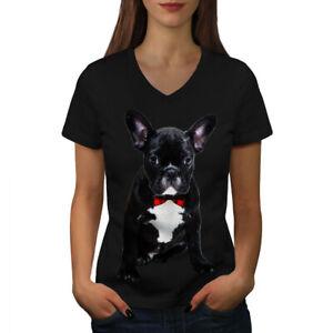 Wellcoda-Fancy-French-Bulldog-Womens-V-Neck-T-shirt-Black-Graphic-Design-Tee