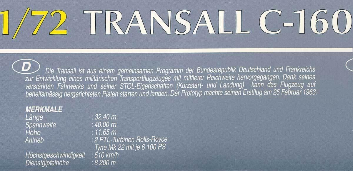 Heller Transall C-160 Geschwader Geschwader Geschwader 63 60° Escadre De Trasporto 1 72 Modello Kit 12ab1b