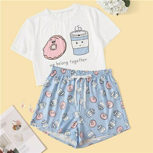 ROMWE Woman Cartoon And Letter Print PJ Sleepwear Summer Shorts Waist Elastic