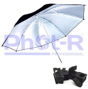 Phot-R-33-Silver-Studio-Umbrella-Swivel-Hotshoe-Flash-Light-Stand-Bracket-Holder