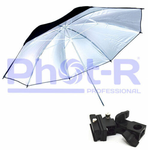 Phot-R 33 Silver Studio Umbrella+Swivel Hotshoe Flash Light Stand Bracket Holder