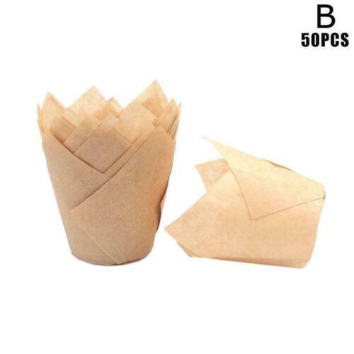 50X Mold Tulip Flower Cupcake Wrapper Baking Muffin Holder Paper Health W4H5