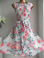 MONSOON Jardín Fiesta Floral Años 50 Vintage Baile de graduación Vestido de invitados de boda de FLARE FIT N 16