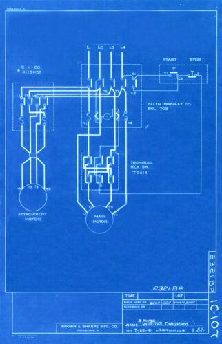 "Vintage Blue Print Poster Wiring Diagram Canvas Art Poster 16/"" x 24/"" 1941"