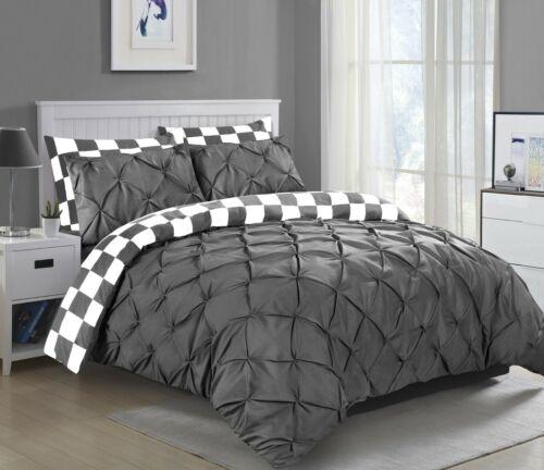 100/% coton Pintuck Housse Couette Ensemble De Literie Double Super King Size Quilt Covers