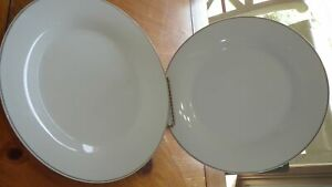 "White Gold Band Dinner Plates by Royal Norfold 4 10"" Gold band plates"