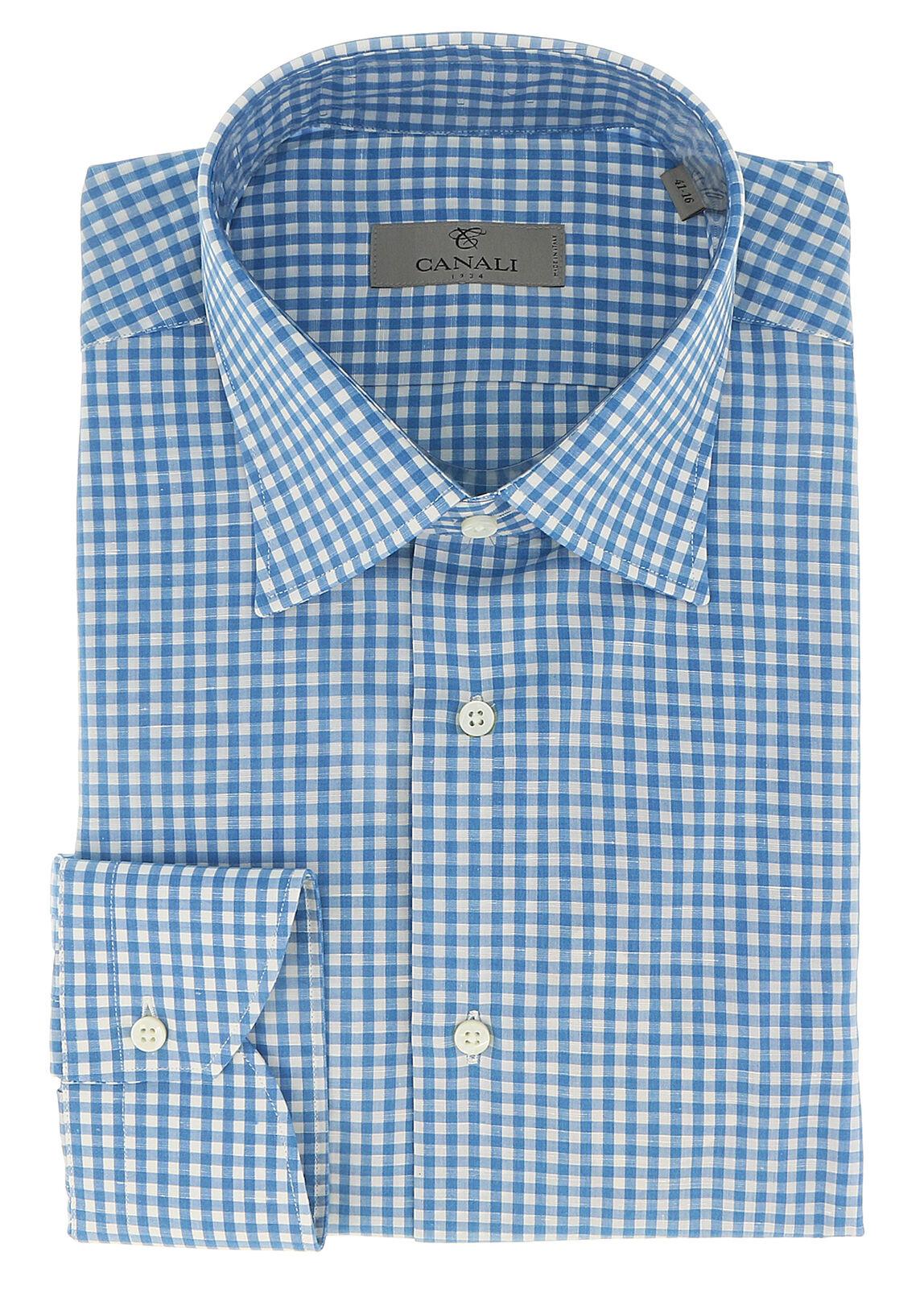 Canali Blau Gingham Formal Shirts