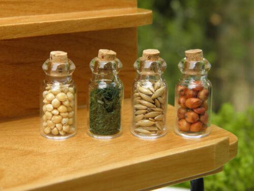 Miniature Dollhouse FAIRY GARDEN Accessories ~ Set 4 Glass Spice Seed Jars ~ NEW