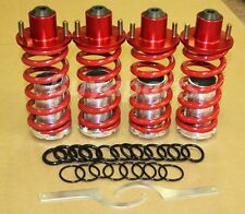RED RACING SUSPENSION COILOVER LOWERING SPRING ALUMINUM SLEEVE + 4 PCS TOP HATS
