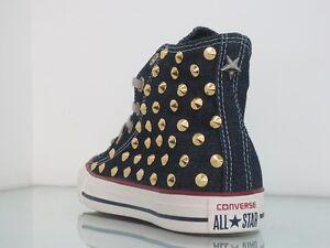 Converse-all-star-Hi-borchie-oro-jeans-navy-denim-artigianali