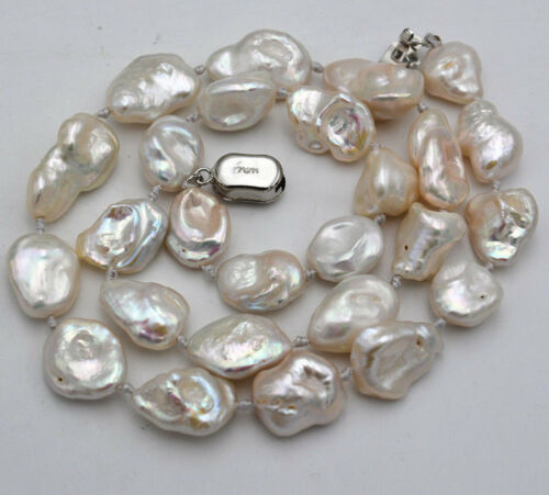 Real 10x13mm-13x16mm Natural Akoya Freeform Baroque recyclé collier de perles 18/""