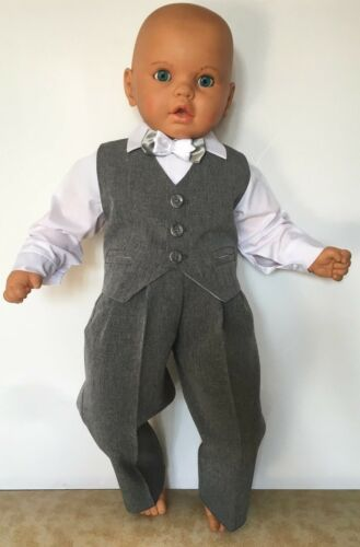 Baby Boy Christening Baptism Party Smart Suit Summer Outfit Light Grey 0-24 m