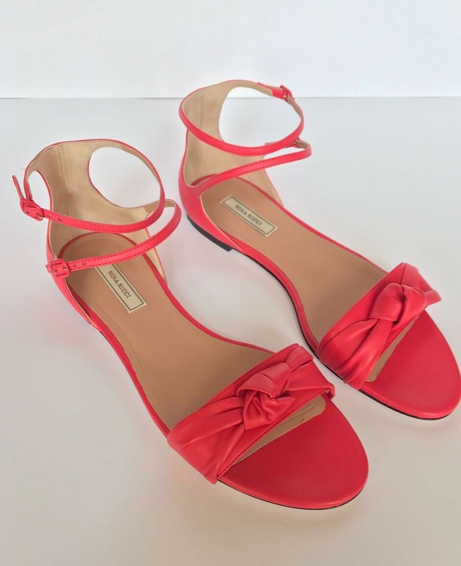 muchas sorpresas Nuevo Y en en en Caja  890 Nina Ricci Coral Rojo nudo Sandalias Tacón Bajo 38.5 es 8.5 EE. UU.  descuento de ventas en línea