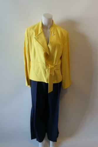 WOMENS LOUIS FERAUD YELLOW NAVY PANT SUIT BLAZER/1