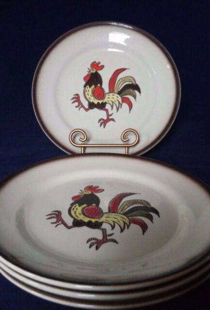Metlox Poppy trail Red Rooster 3pc Dinner Plates 10 inch Brown Chicken Vintage