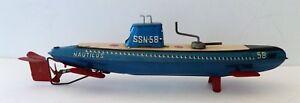 Vintage-Nautilus-Submarine-SSN-58-Made-By-Marusan-Toys-Japan-1950-039-s