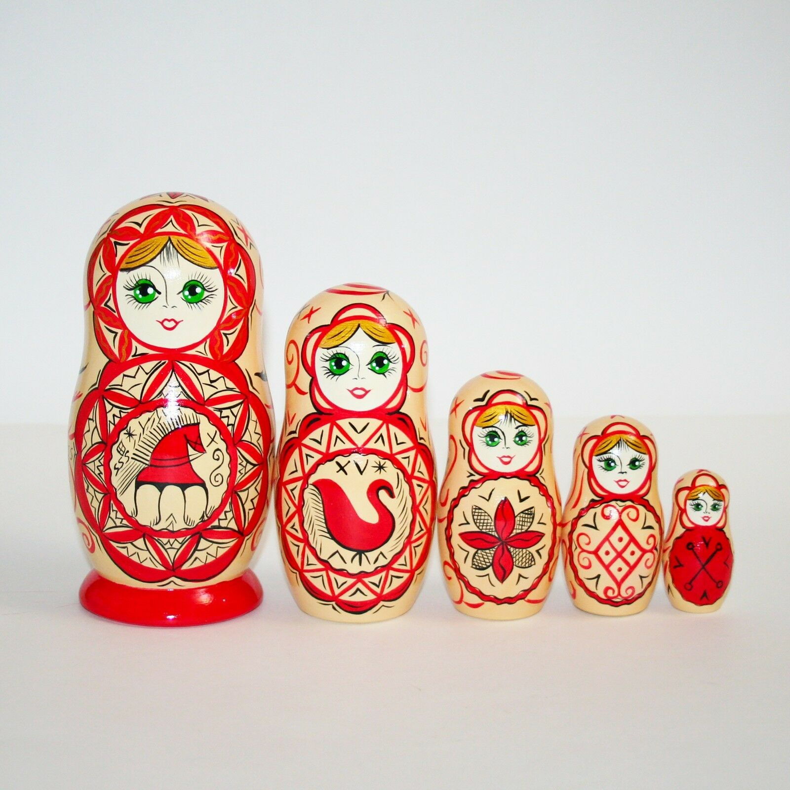 Nesting dolls Russia north motive ROT matryoshka Hand-painted Signed 7