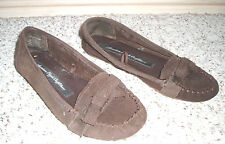 AMERICAN EAGLE Suede Leather Soft Cloth Moccasin Loafer Shoe w/Bow~Brown~Size 6