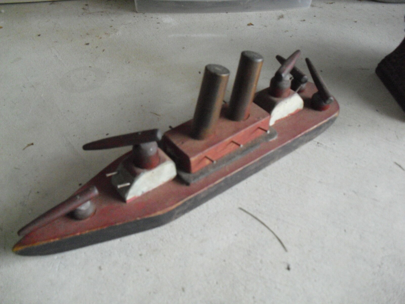 Beautiful Large Vintage Handmade Wood Battleship - Really Unique