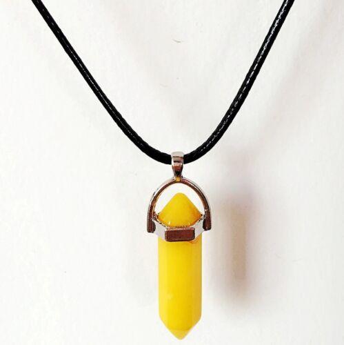 Natural Quartz Crystal Stone Point Chakra Healing Gemstone Pendant Necklace Sy