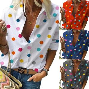 Womens-Multi-color-Polka-Dot-Casual-Summer-T-Shirt-Tops-Lapel-Blouse-Plus-Size