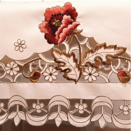 White Rectangle Lace Tablecloth Rose Floral Wedding Kitchen Dining Table Cloth