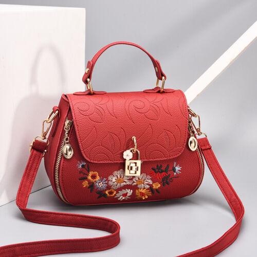 Ladies Designer Flower Tote Shoulder Handbag PU Leather Work Bag