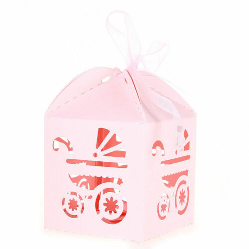 50pcs Carriage Laser Cut Wedding Favor Candy Gift Boxes w//Ribbon Baby Shower Box