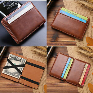 Men-039-s-Leather-Magic-Money-Clip-Slim-Wallet-ID-Credit-Card-Holder-Case-Purse-New