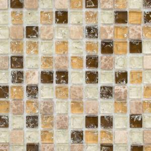 Das Bild Wird Geladen Glasmosaik Naturstein Beige Braun Mix Kueche WC Bad