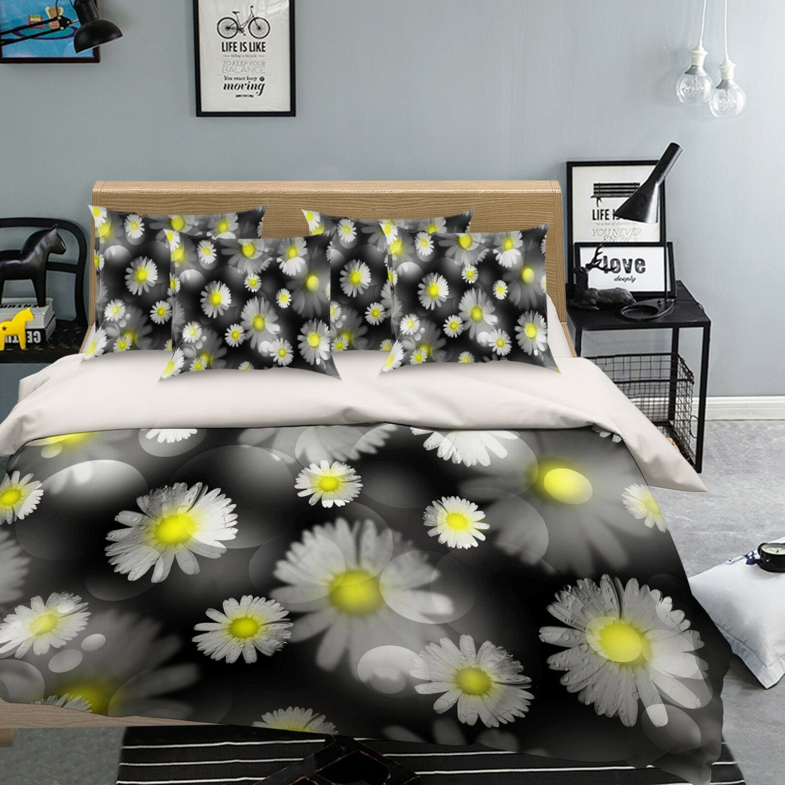 3D Sun Flower 75 Bett Pillowcases Quilt Duvet Startseite Set Single Königin AU Carly