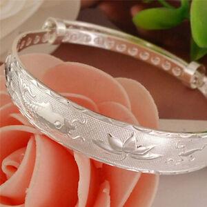 Silver-Fashion-Lovely-Fish-and-Lotus-Flower-Women-039-s-Bangle-Bracelet-FF