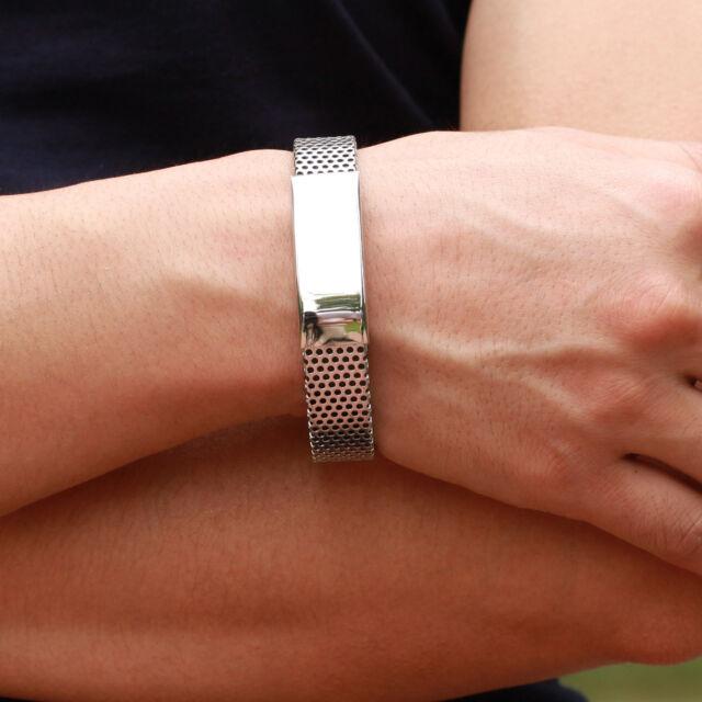 Unique Silver Titanium Steel Black Leather Bracelet Cuff Bangle Mens Wristband