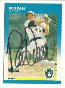 Rob Deer 1987 Fleer auto autographed signed card Brewers