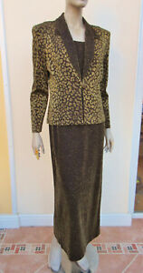 WOMENS-GOLD-MIX-SPARKLY-LONG-DRESS-JACKET-OUTFIT-VISION-14